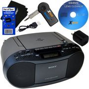 Sony CD Player Portable Boombox with AM/FM Radio & Cassette Tape Player + Wireless Bluetooth Receiver with Charger + Xtexh CD Maintenance Kit & HeroFiber Ultra Gentle Cleaning Cloth