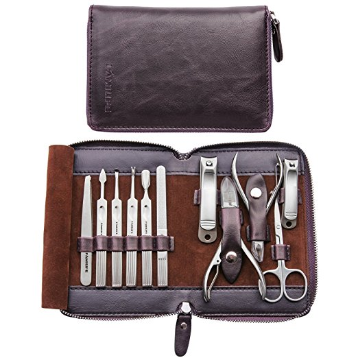 11-in-1 Stainless Steel Manicure Pedicure Set Grooming Kit with Box