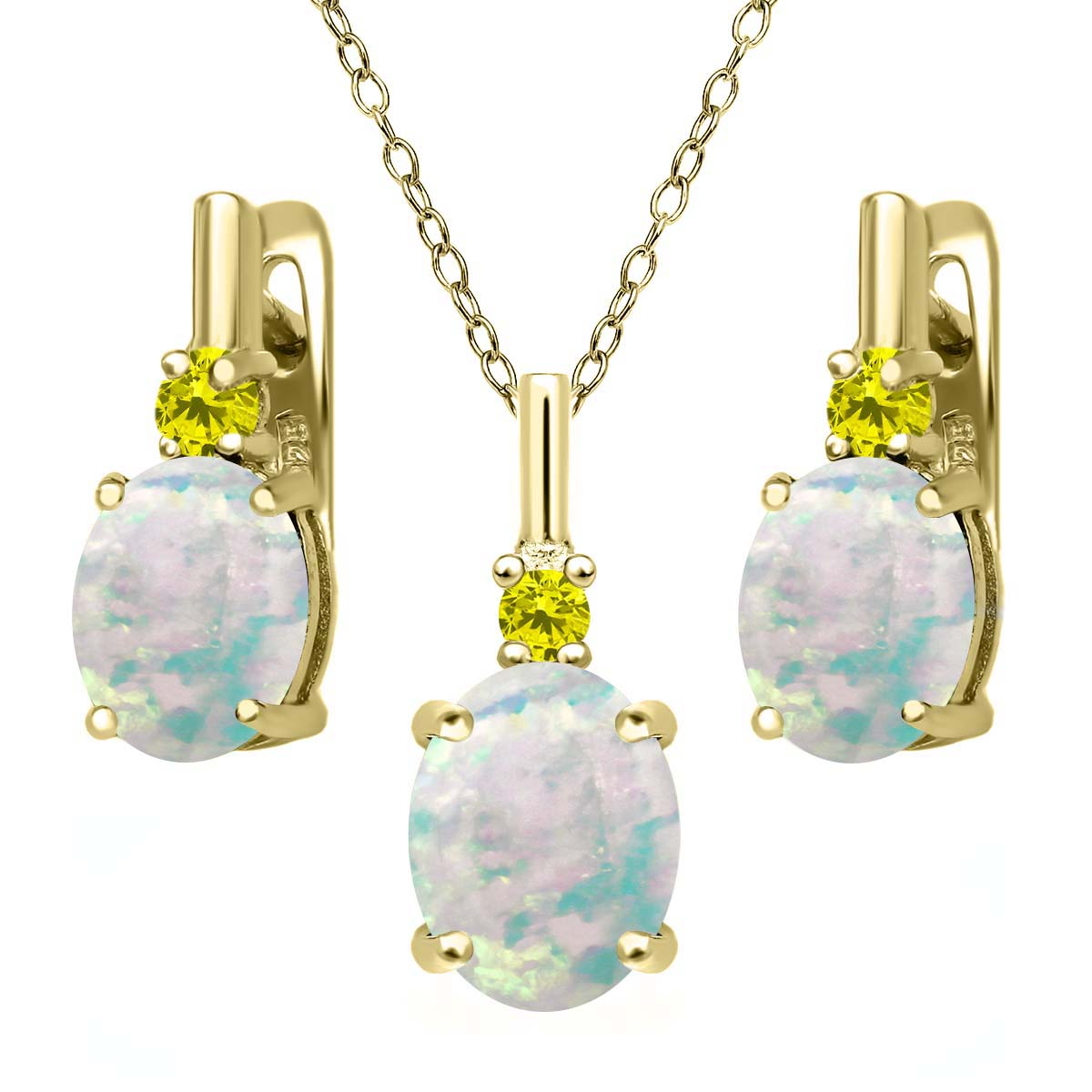 4.87 Ct Simulated Opal Canary Diamond 18K Yellow Gold Plated Silver Jewelry Set by