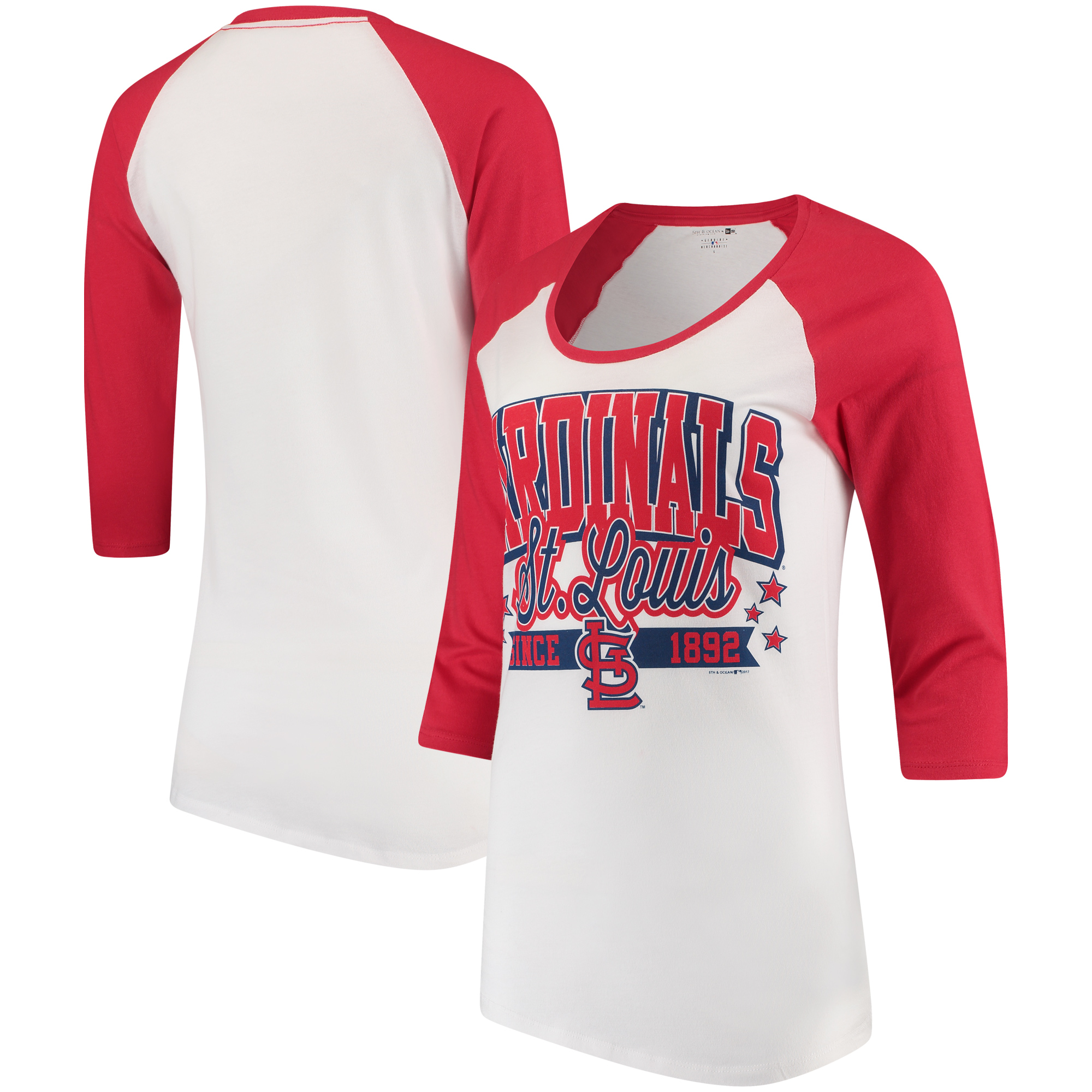 St. Louis Cardinals 5th & Ocean by New Era Women's Team Banner 3/4-Sleeve Raglan T-Shirt - White/Red