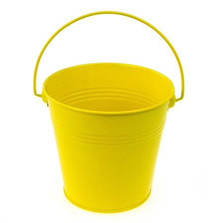 Metal Pail Buckets Party Favor, 5-inch, Yellow