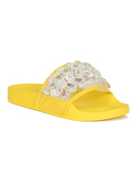 d954ca7323 Product Image Women Crystal Jeweled Open Toe Slide Sandal 18820