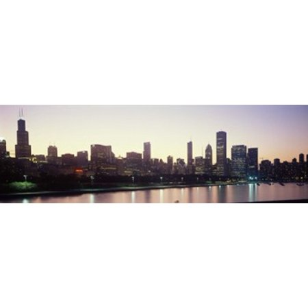 City skyline with Lake Michigan and Lake Shore Drive in foreground at dusk Chicago Illinois USA Poster Print - Halloween City In Michigan