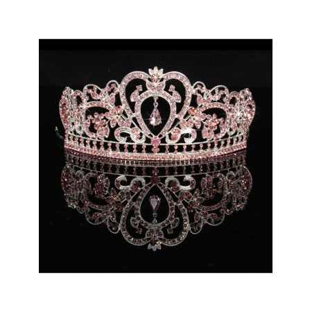 Headband Tiara (LuckyFine Crystal Wedding Tiara Crown Prom Pageant Princess Crowns Bridal Veil Headband - On)