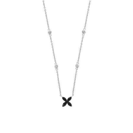3271409a56a88a Effy - 14K White Gold, White Diamond and Black Diamond Necklace -  Walmart.com