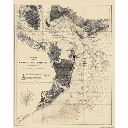 Civil War Map Print - Charleston Harbor South Carolina - Bache 1863 - 23 x 28.91