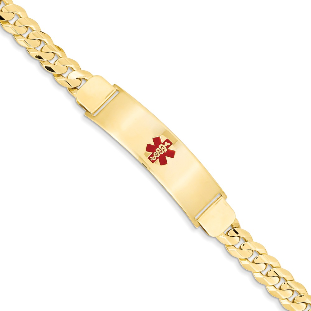 14k Yellow Gold Engravable 8in Medical Men's Jewelry ID Bracelet (Plate:1.9inx0.5in)