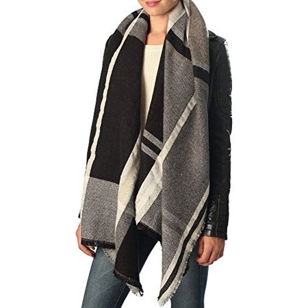Sassy Scarves Womens Cold Weather Check Pattern Oblong Blanket Scarf (Black)
