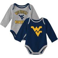 West Virginia Mountaineers Newborn & Infant Trophy 2-Pack Long Sleeve Bodysuit Set - Navy/Heathered Gray