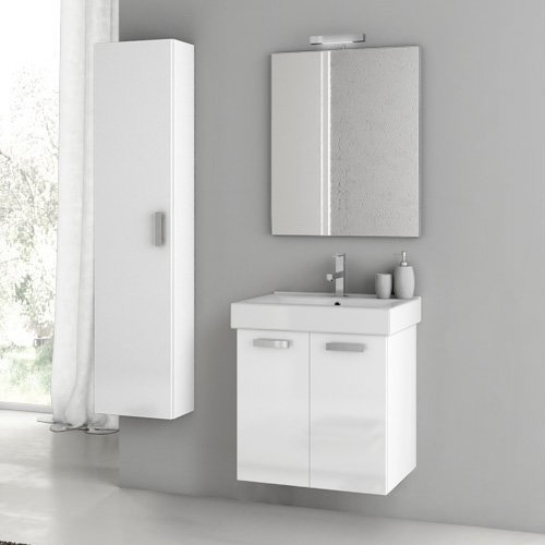 ACF by Nameeks ACF C10-GW Cubical 22-in. Single Bathroom Vanity Set - Glossy White