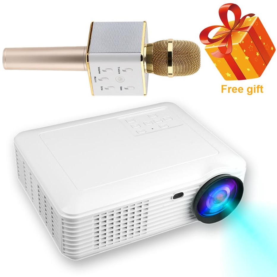 2018 HD Projector, 2018 Upgraded (+80% Brightness) 1080P HD Home Portable Video Projector for PC/MAC/TV/DVD/Movies/Games/Outdoor with USB/Micro SD/AV/HDMI/VGA Input