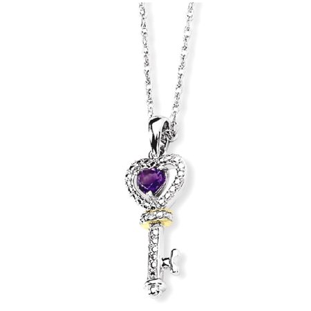 Silver Amethyst Heart Charm (925 Sterling Silver 14k Purple Amethyst Diamond Key Chain Necklace Pendant Charm Gemstone Gifts For Women For Her)