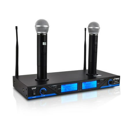Pyle PDWM2560 - Premier Series UHF Wireless Microphone System with (2) Handheld Mics, Dual Rechargeable Dock, 16-Channel Selectable Frequency, LCD Display, Rack - 2 Mic Wireless System