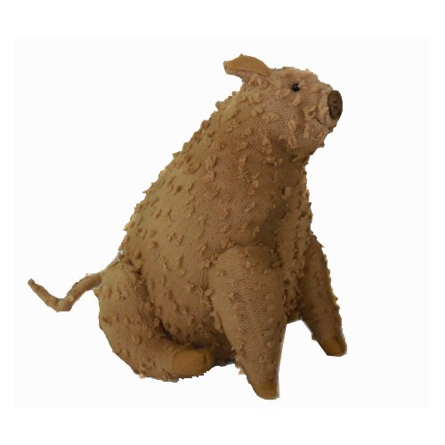 Craft Outlet Vintage Shabby Elegance Chenille Farmhouse Pig Collectible Figurine