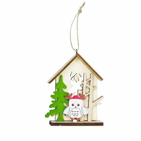 Christmas Tree Pendant, Christmas Snowman /Elk Log Cabin Hanging Card Home Santa Claus - Snowman Christmas Tree Ideas