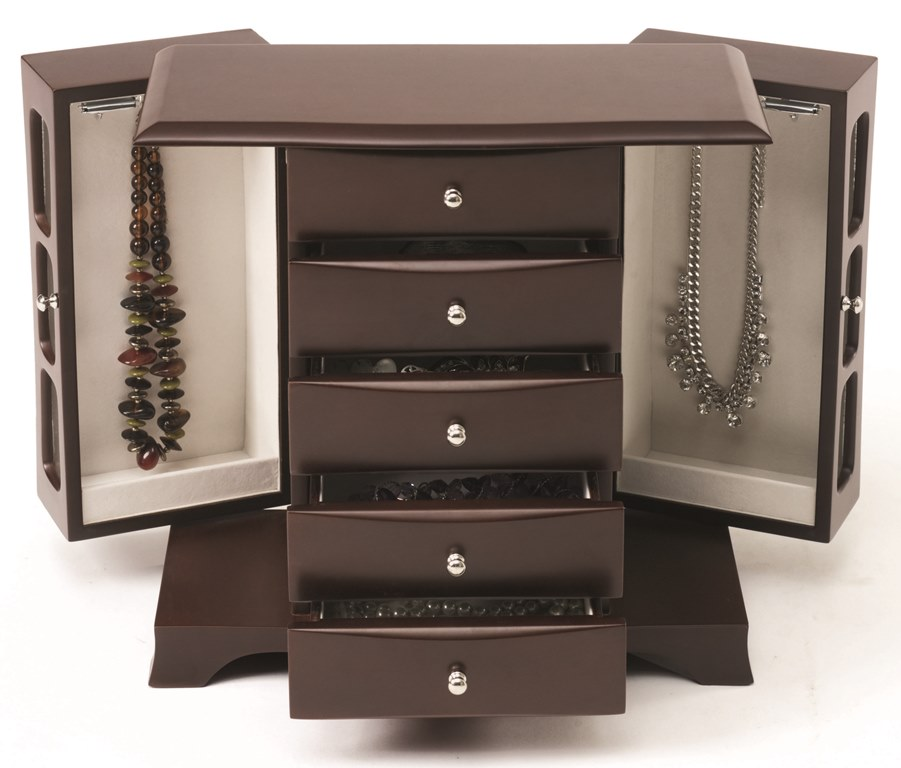 Longstem 6100 Overdoor Wall Jewelry Organizer Valet in Black