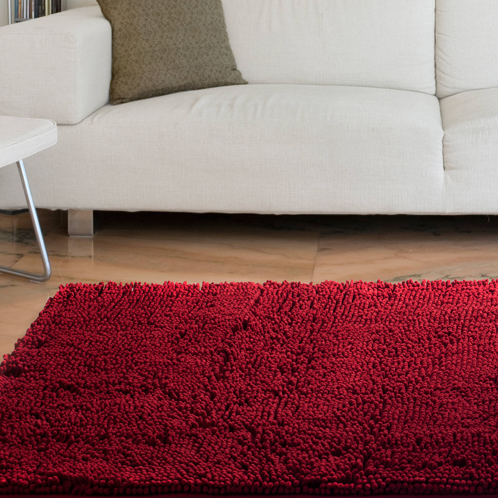 "Somerset Home High Pile Shag Rug Carpet, Burgundy, 21"" x 36"""