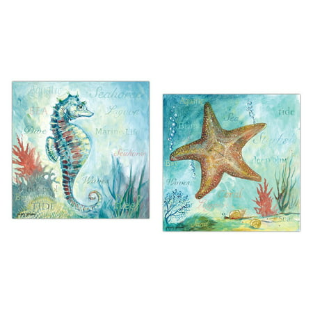 Beautiful Watercolor-Style Marine Life Starfish and Seahorse; Coastal Decor; Two 12x12in Poster Prints ()