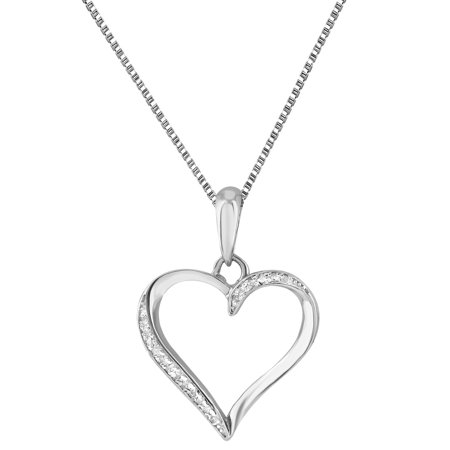 925 Sterling Silver Heart Pendant Ladies 0.10 CT Genuine Diamonds 18