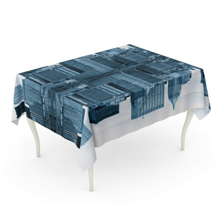 KDAGR Blue Building Manhattan New York City USA Bridge Brooklyn Skyline Downtown Tablecloth Table Desk Cover Home Party Decor 52x70 inch](Party City Usa Coupons)