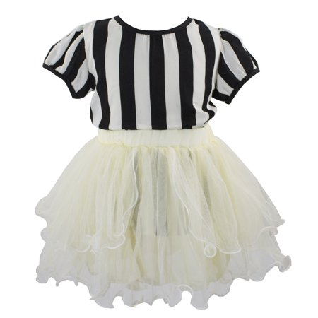 Styles I Love Kid Girls Black White Stripes Short Sleeve Blouse and Tutu Skirt 2pcs Outfit Summer Party Dresses Set (140/7-8 Years)