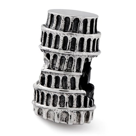 Sterling Silver Reflections Leaning Tower Of Pisa Bead - Leaning Tower Charms