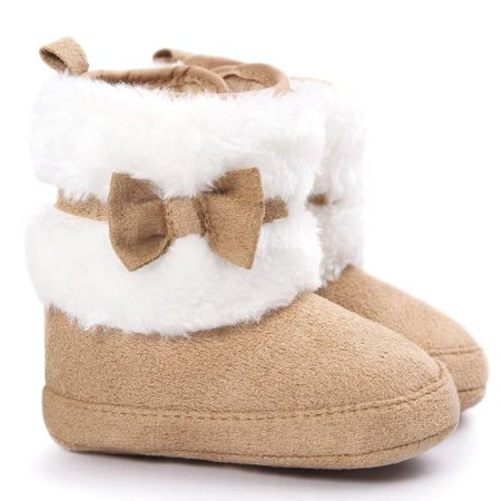 Baby Bowknot Keep Warm Soft Sole Snow Boots Soft Crib Shoes Toddler