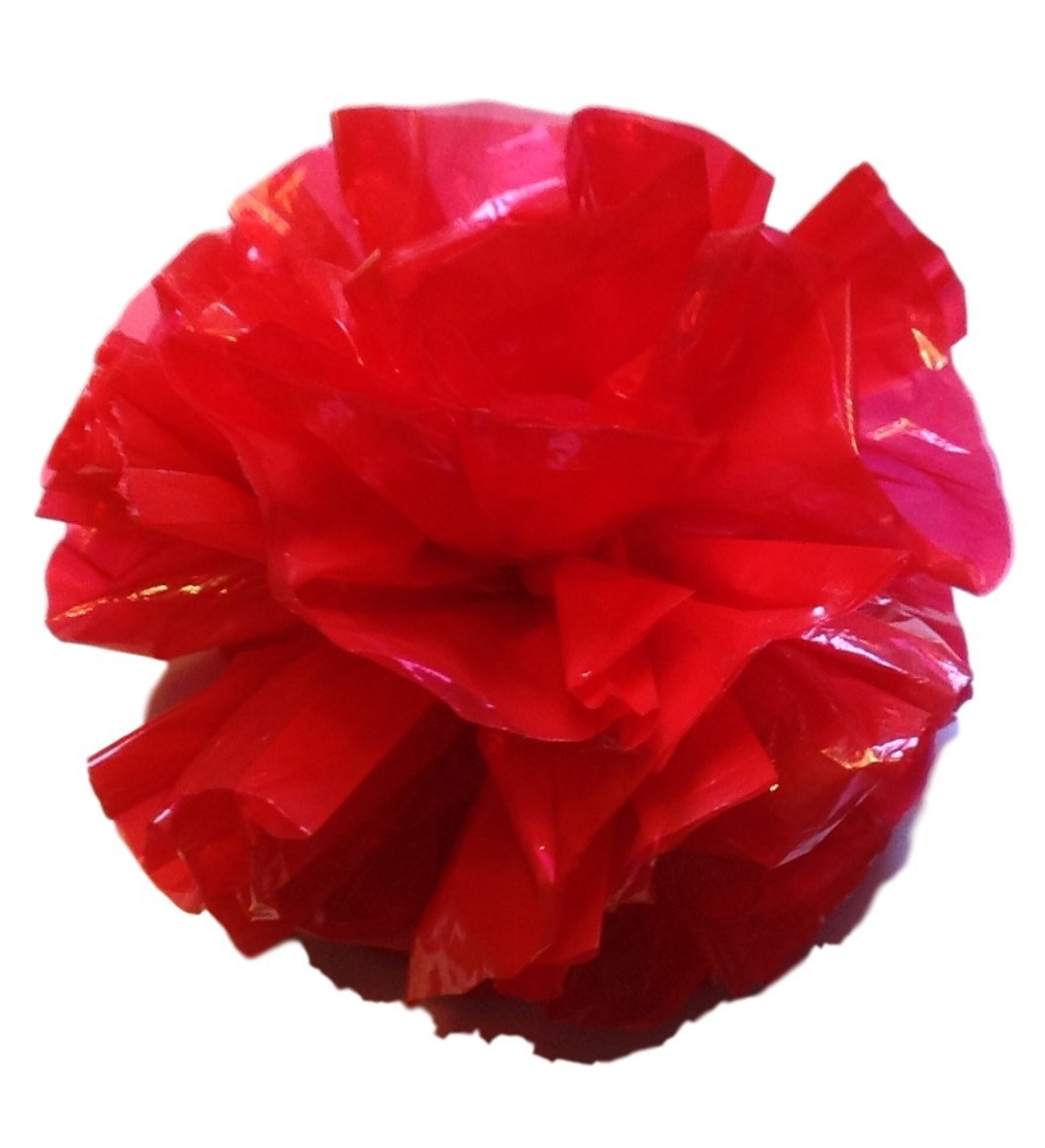 12 Plastic Flower Poms with Suction Cups Car/Limo Decoration Deco-Puffs - red