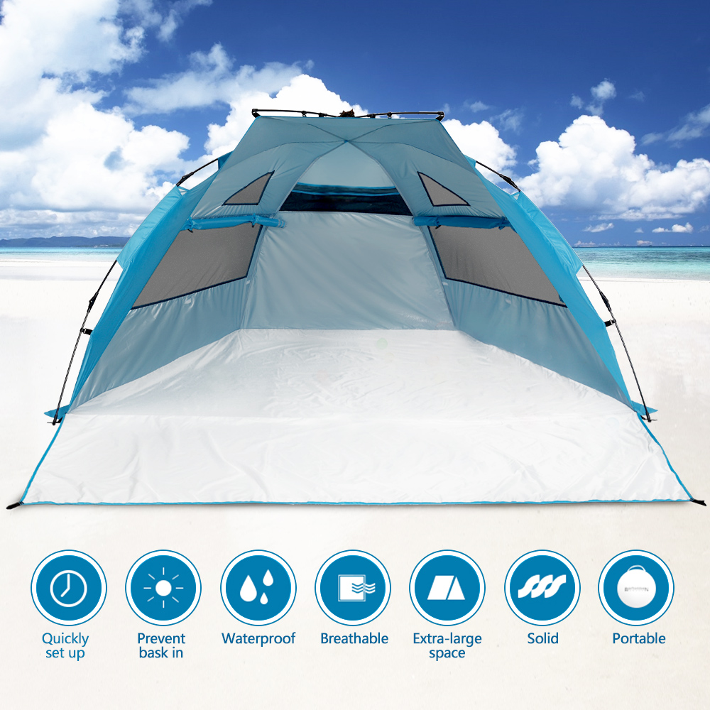 "Odoland Beach Tent Pop Up Sun Shelter UPF 50+ Sun Protection Polyester Tent Extend Size 94""x78"" by"
