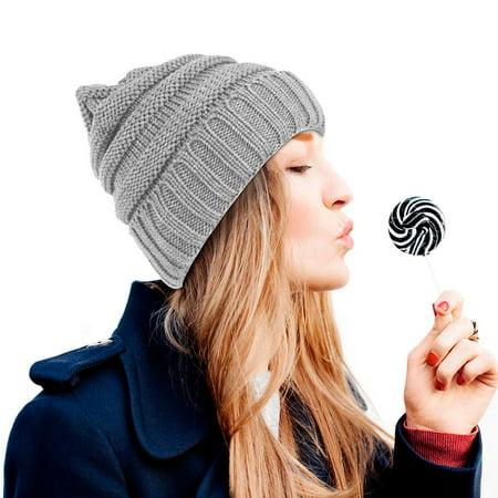 Beanie Hat for Women by Zodaca Fashion Unisex Wavy Warm Winter Beanie Stretchy Knit - Gray