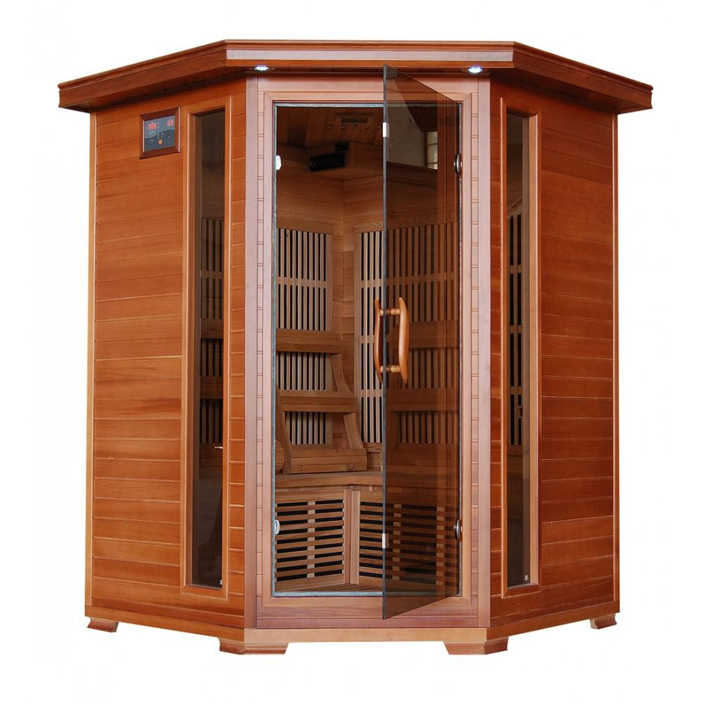 Hudson Bay-Cedar 3 Person FAR Infrared Sauna With Carbon Heaters-Corner Unit by HeatWave