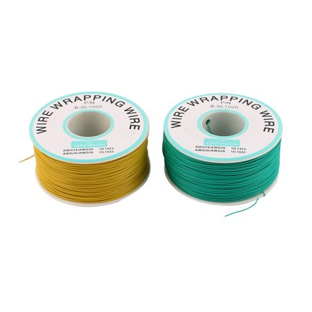 2 Pcs High Temperature Resistant Wraping Wire B-30-1000 Green Yellow - image 3 de 3