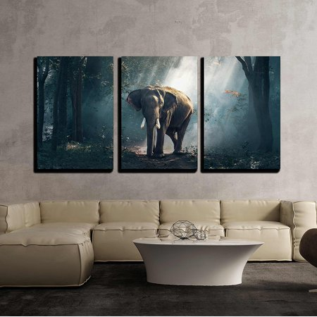 wall26 - 3 Piece Canvas Wall Art - Elephants in The Forest - Modern Home Decor Stretched and Framed Ready to Hang - 16