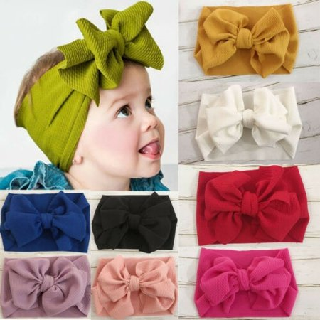 Baby Kids Girl Child Toddler Big Bow Hairband Headband Stretch Turban Head Wrap Headwear -