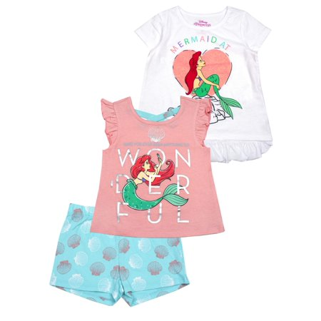 5aa939945dbc4 The Little Mermaid - Mermaid at Heart Ruffle Hem Tee, Tank and Short,  3-Piece Outfit Set (Little Girls) - Walmart.com