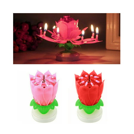 1 X Musical Birthday Candle Lotus Flower Rotating Spin Magic Cake Topper Party ()