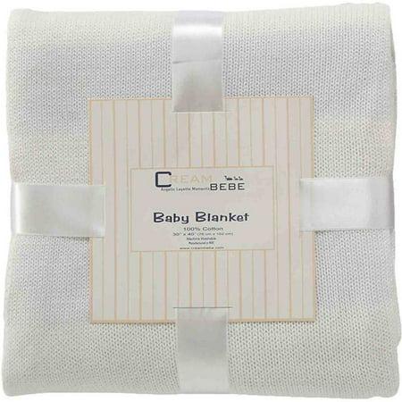 Cream Bebe rayé 100 pour cent en tricot de coton Couverture bébé, Ivoire / Blanc
