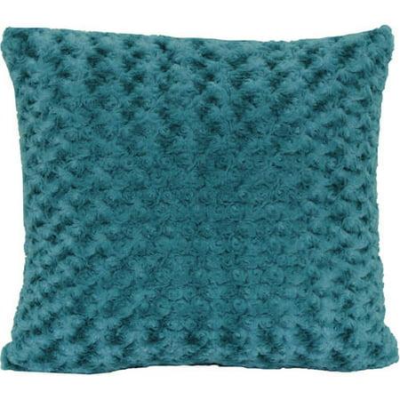 """Better Homes and Gardens Rosette Fur Decorative Toss Pillow 18""""x18"""", Teal"""