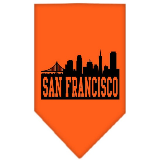 San Francisco Skyline Screen Print Bandana Orange Small