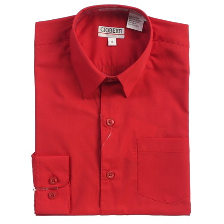 Gioberti Boys Solid Dress Shirt, Red, 5 - White Dress Shirt Boys