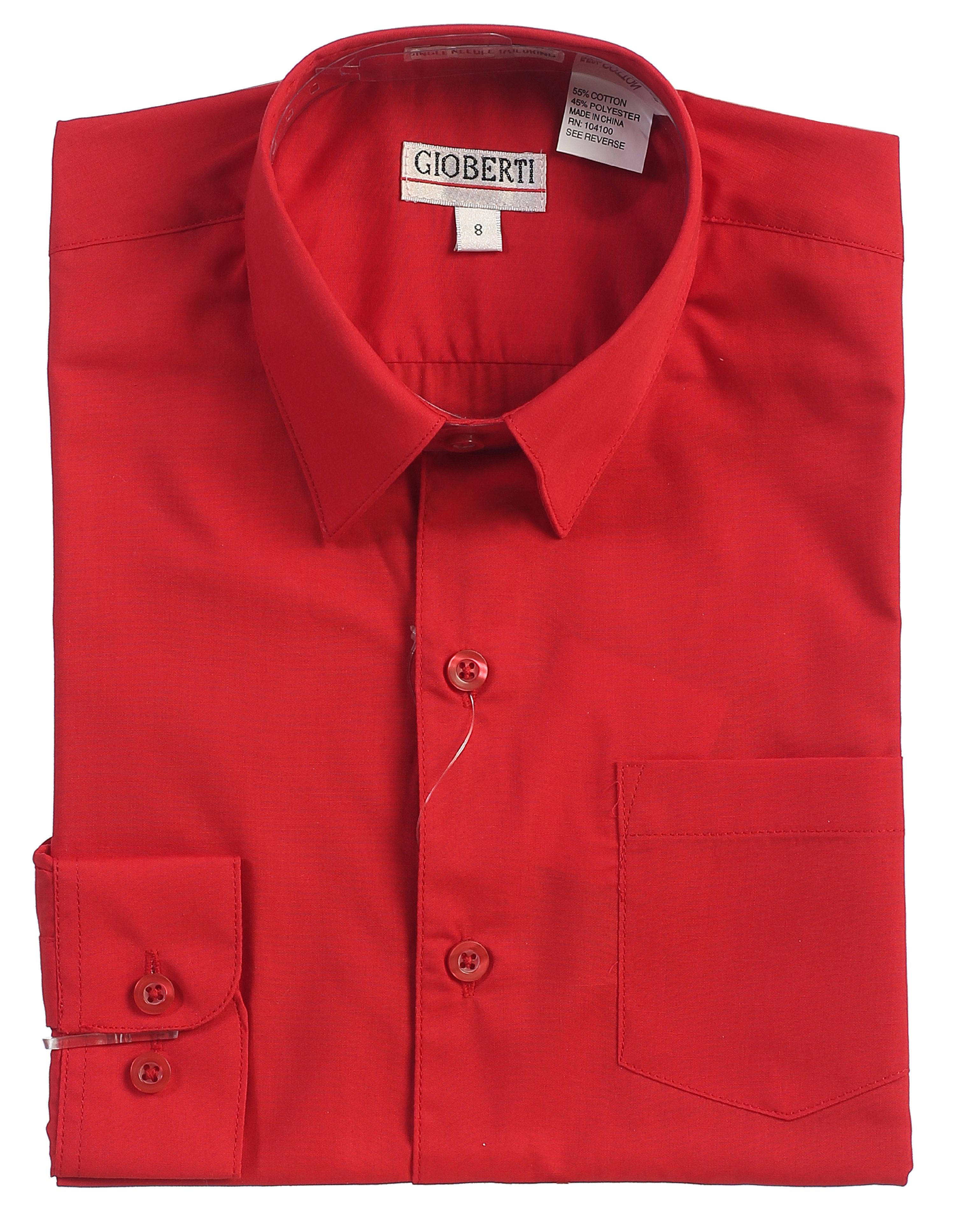 Gioberti Boys Solid Button Up Long Sleeve Dress Shirt
