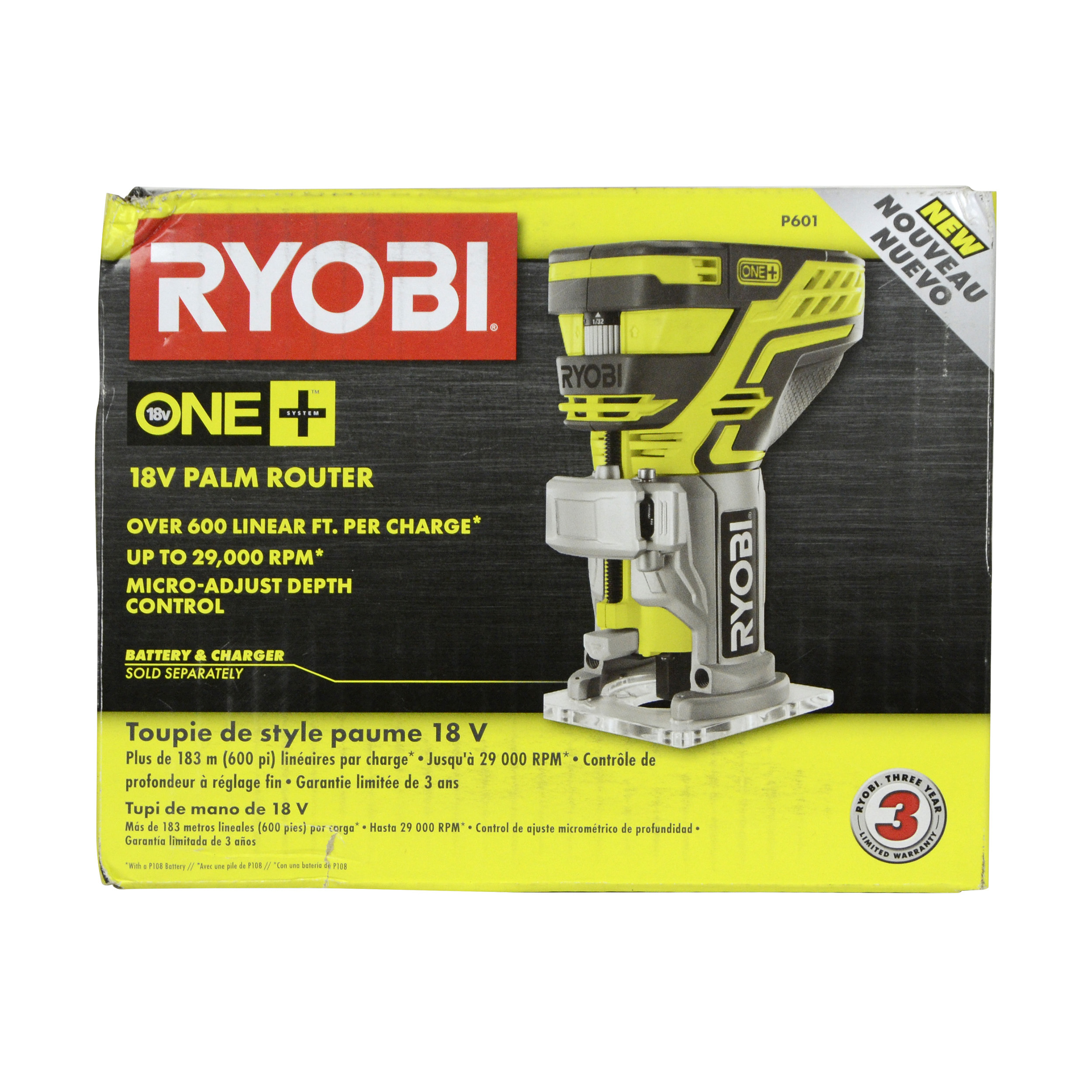 Ryobi P601 ONE+ 18V Cordless Fixed Base Palm Router, Tool Only by
