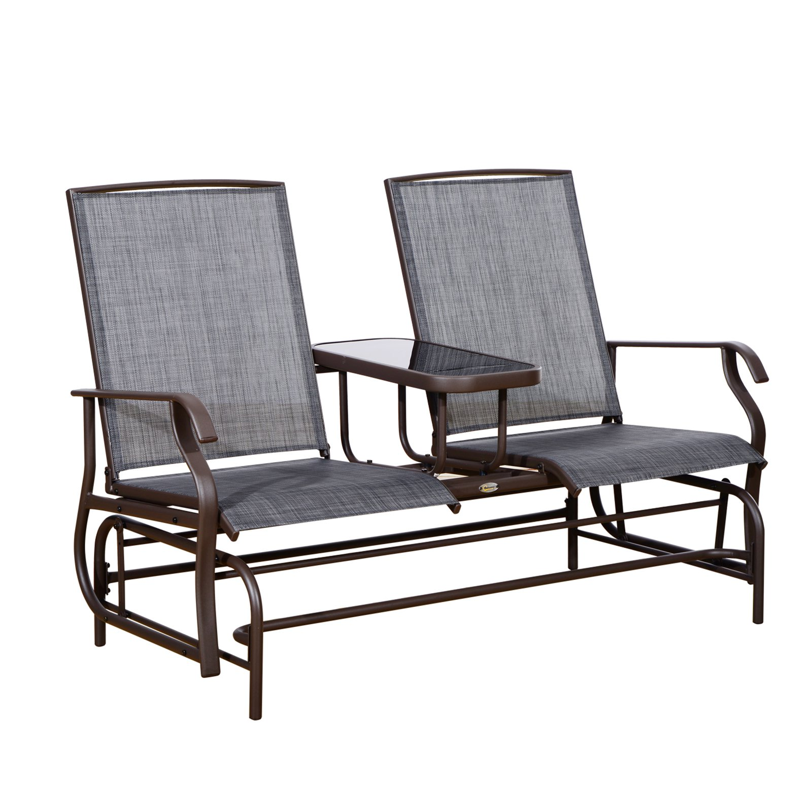 Outsunny 2 Person Mesh Fabric Patio Double Glider Chair with Center Table - Brown