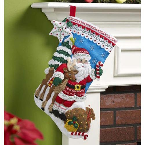 Bucilla Nordic Santa Stocking Felt   Sequin Kit