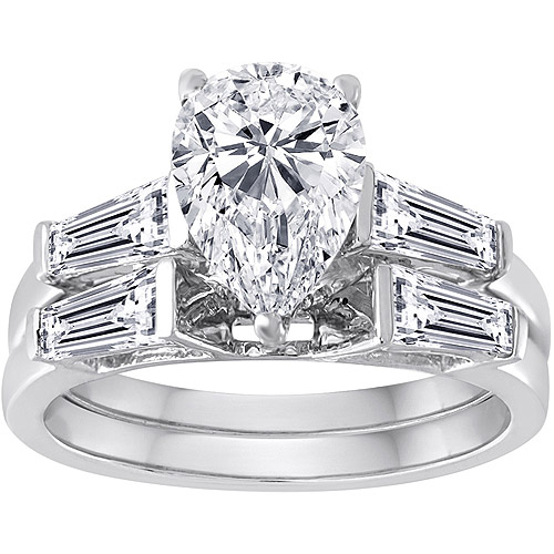 Pure Perfection Certified Bridal Ring with Pear-Shaped Stone Made with Swarovski Zirconia