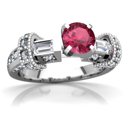 Pink Tourmaline Antique Style Ring in 14K White Gold by