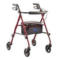 "Medline Superlight Aluminum Rollator, Folding Rolling Walker, 6"" Wheels, 250lb Weight Capacity, Burgundy Red Frame"