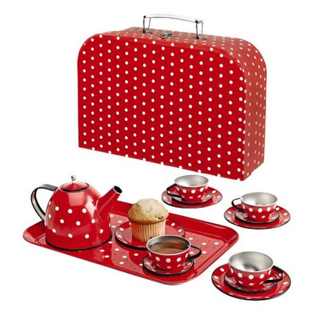 Polka Dot Miniature Tin Tea Set, 15 Pieces, Sized just right for little hands By Magic Cabin for $<!---->
