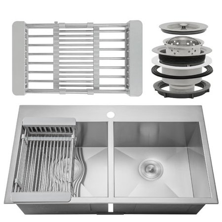 AKDY 33\'\' x 22\'\' Drop-In Top Mount Stainless Steel Double Bowl 50/50 ...