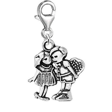Couple Boyfriend and Girlfriend in Love Clip on Pendant Charm for Bracelet or - Personalized Dog Tags For Boyfriend